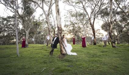 bridal party lost amongst the trees