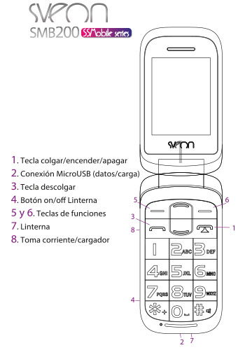 Teléfono Móvil libre con dual SIM y botón SOS Sveon SMB200