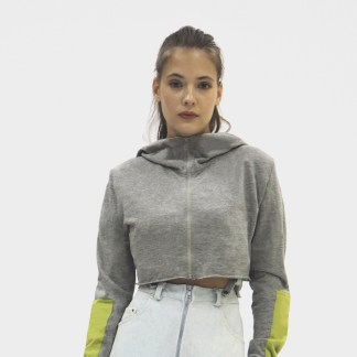 Women Cotton Grey sports short crop top Jacket Fashion zip front hood design sleeve green patch Split Zip Cropped Hoodie