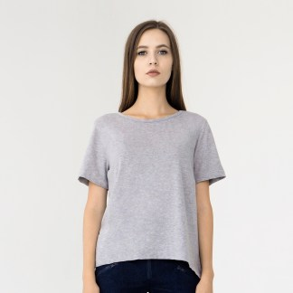 women cotton top t-shirt light grey long back