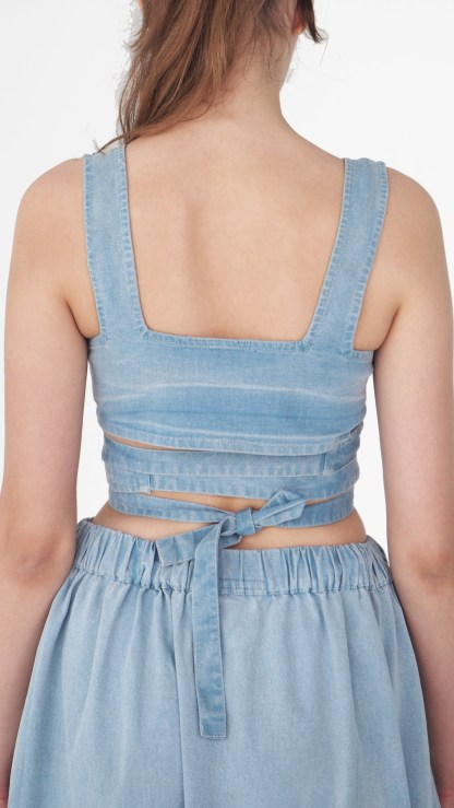 women Denim Crop Top Light Blue tie dye big back