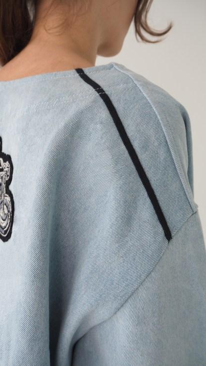 Women Oversized Denim Light Blue Jacket Fashion Biker's Embroidered patch Jean Jacket Vegan shoulder details