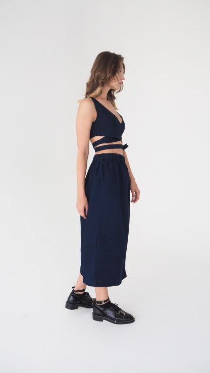 women denim midi skirt dark blue seam front details elastic waist side