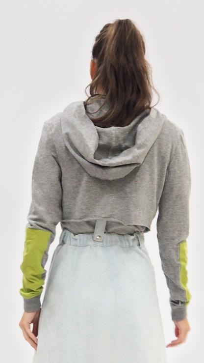 Women Cotton Grey sports short crop top Jacket Fashion zip front hood design sleeve green patch back hood
