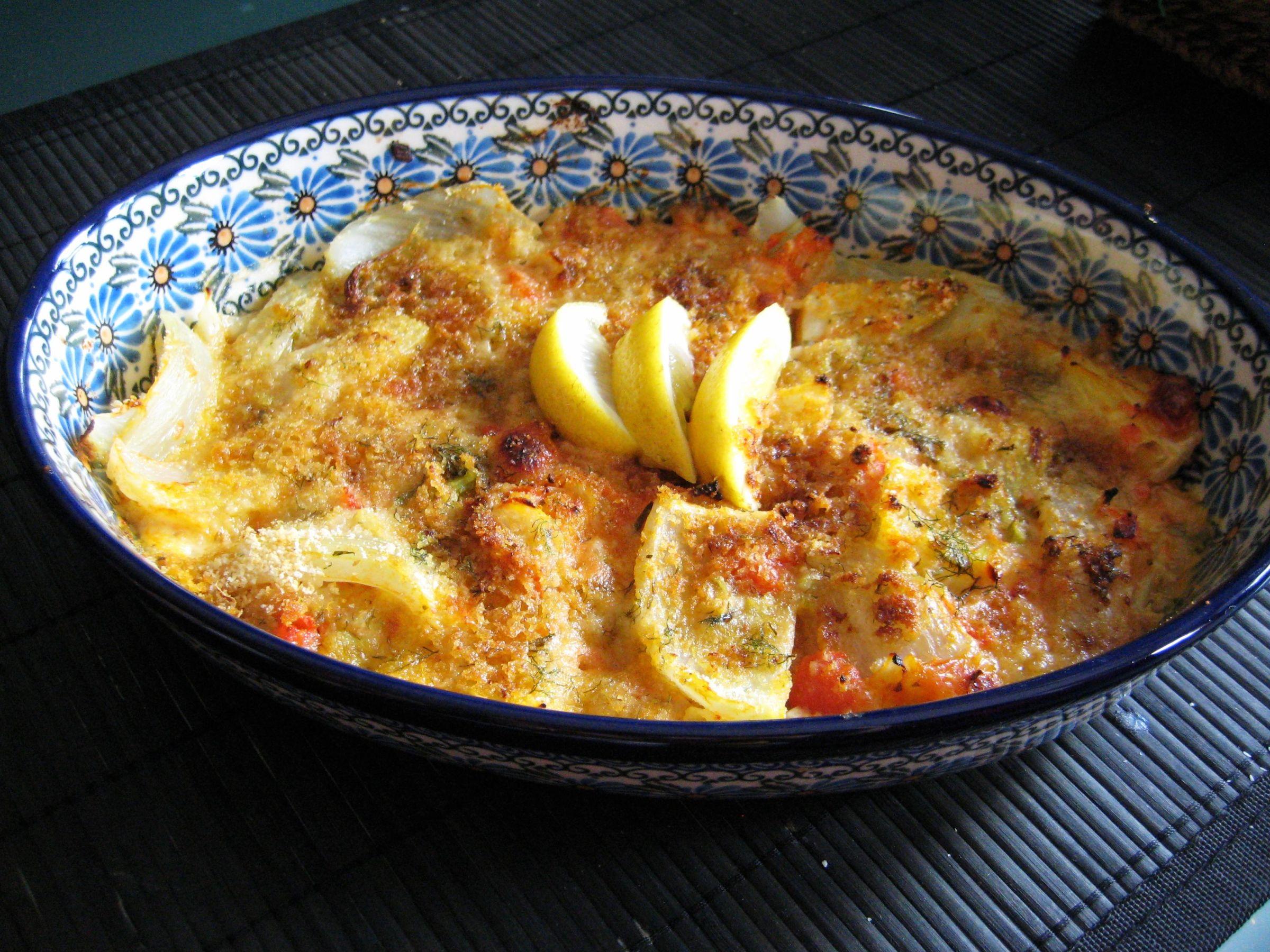 Fenchelgratin mit Tomaten und Mozzarella