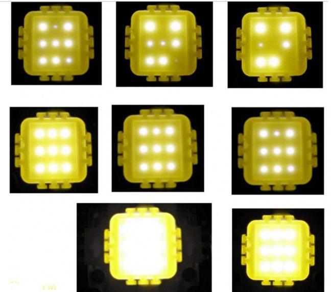 példa a LED-ek egyenetlen izzására