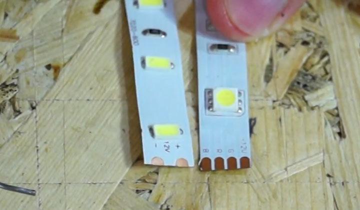 perbedaan antara pin pada strip led polos dan rgb