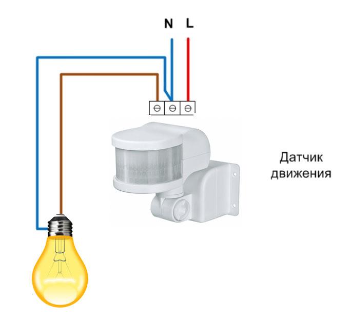 Skema koneksi sensor gerak sederhana