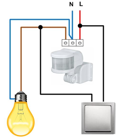 Skema koneksi sensor gerak dengan sakelar gerakan