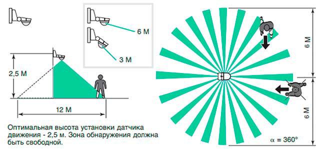 зона захвата лучей датчика движения