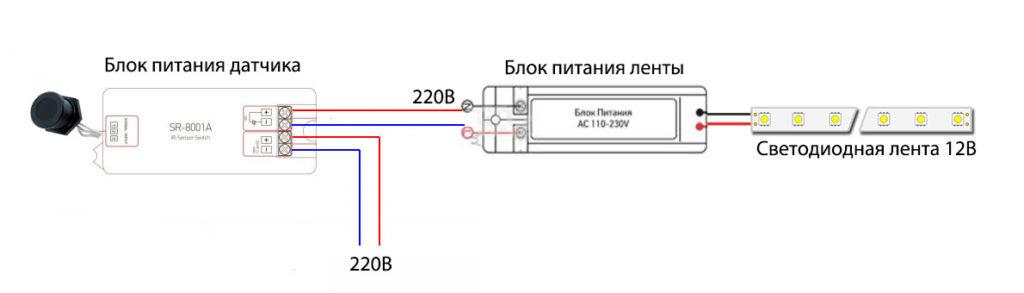 Ас үйдегі жұмыс аймағының артқы схемасы, ас үйдегі жұмыс аймағының қозғалыс сенсоры немесе 220 В толқыны