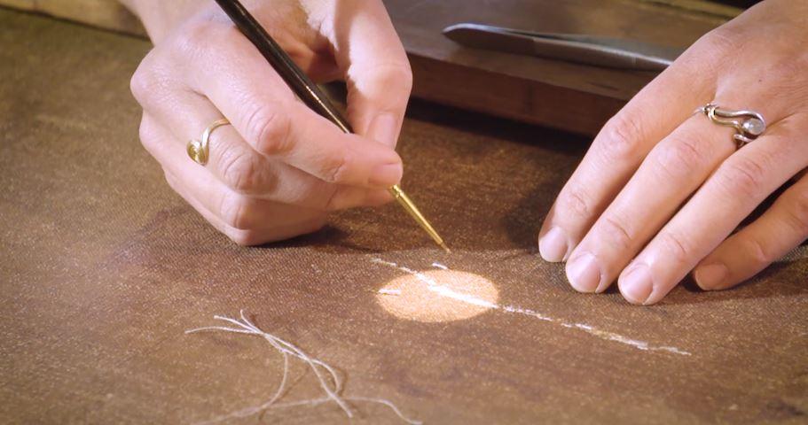 """Lin Spaabæk: Konservering af L. Tuxen maleri. Maleriet er en kopi af Titians maleri """"Den himmelske og jordiske kærlighed"""". Konservering af Hammershøi """"Job"""""""