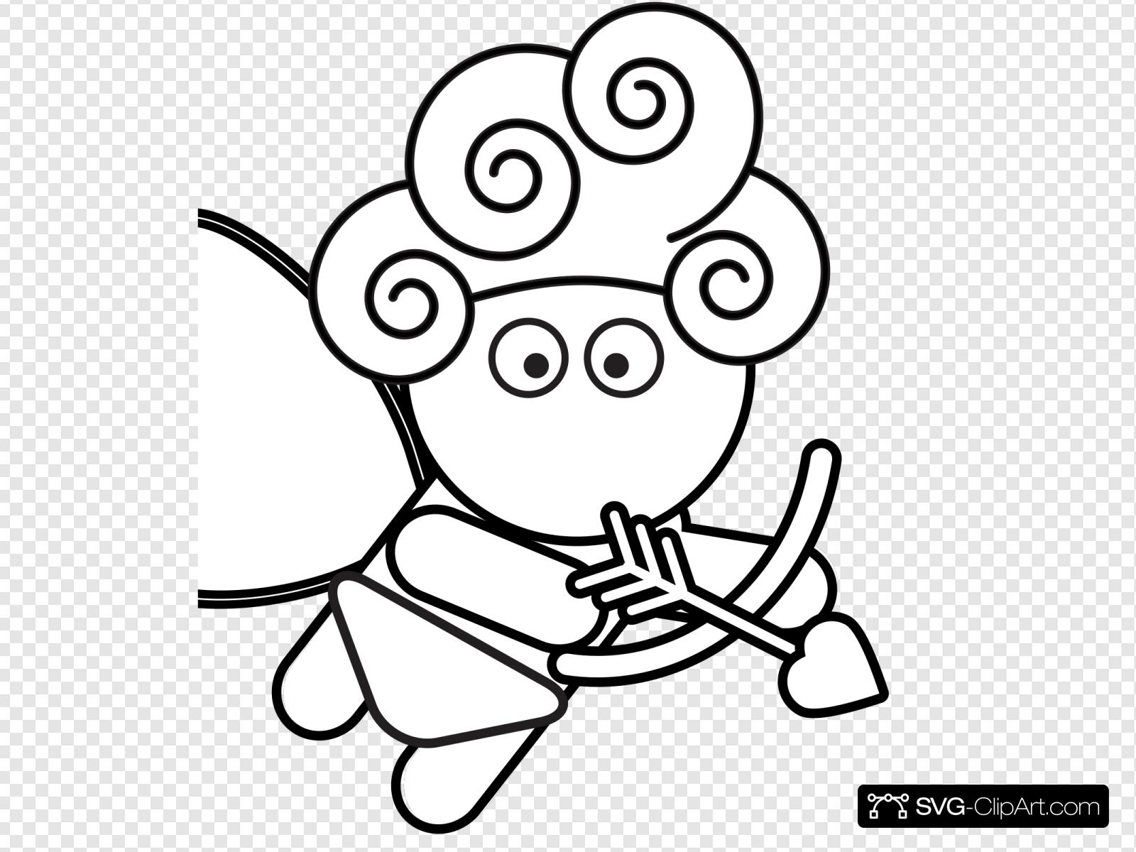 Outline Cupid Shooter Svg Vector Outline Cupid Shooter