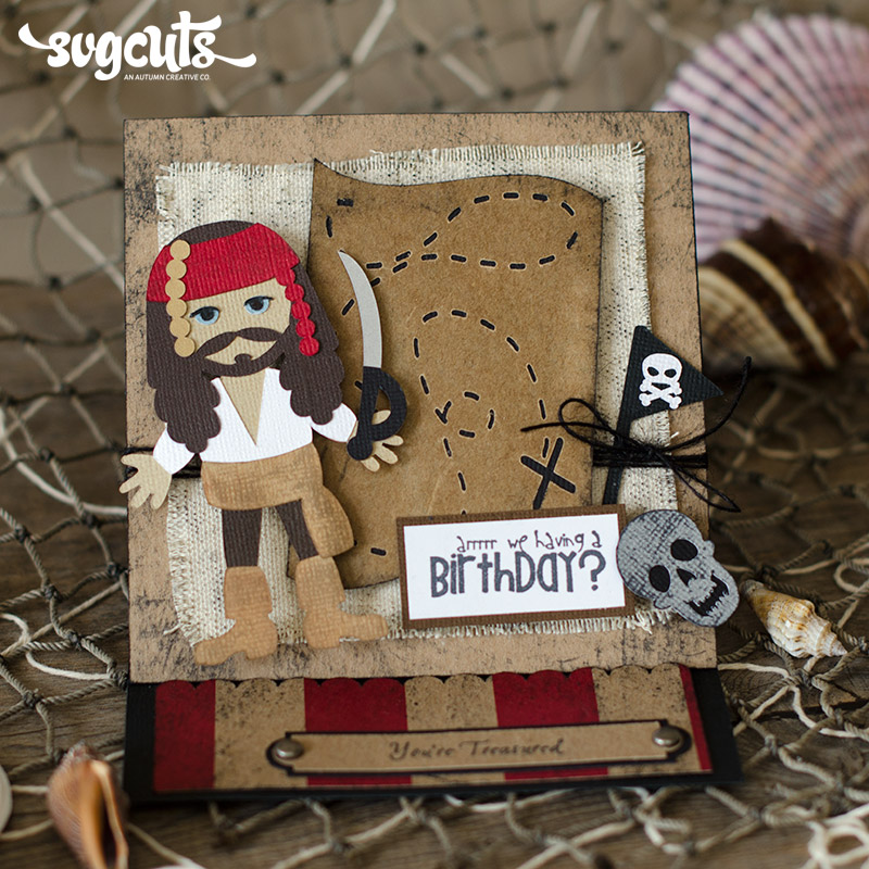 Pirate Easel Birthday Card And Ship Cupcake Stand By