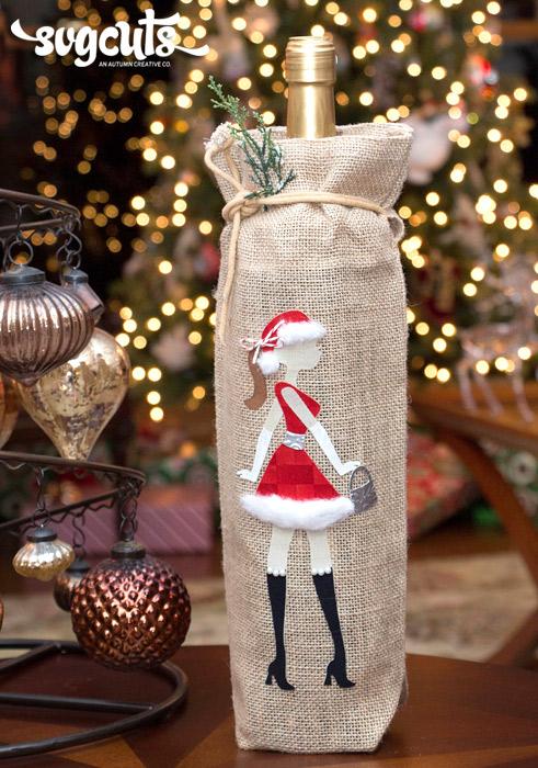 Santa Baby Burlap Wine Holder by Kathy Helton  SVGCuts