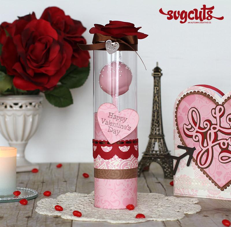 Valentines I Love You Card and Cake Pop Treat Tube by Ilda