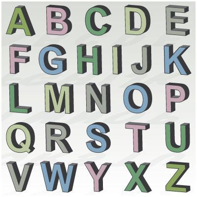 3d letters svg kit