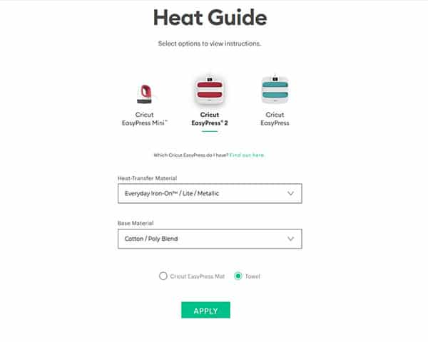 Choose Iron On Settings for Heat Guide
