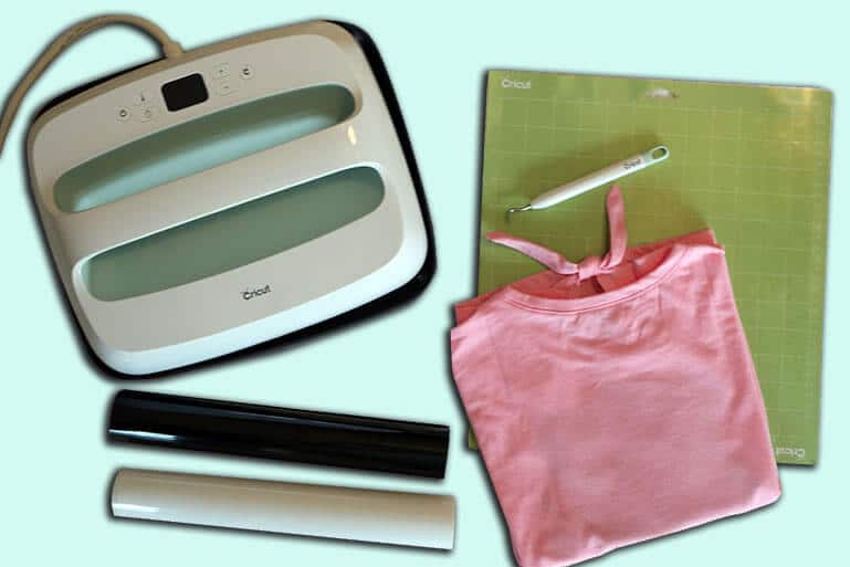 Materials needed to make an iron on shirt with your Cricut