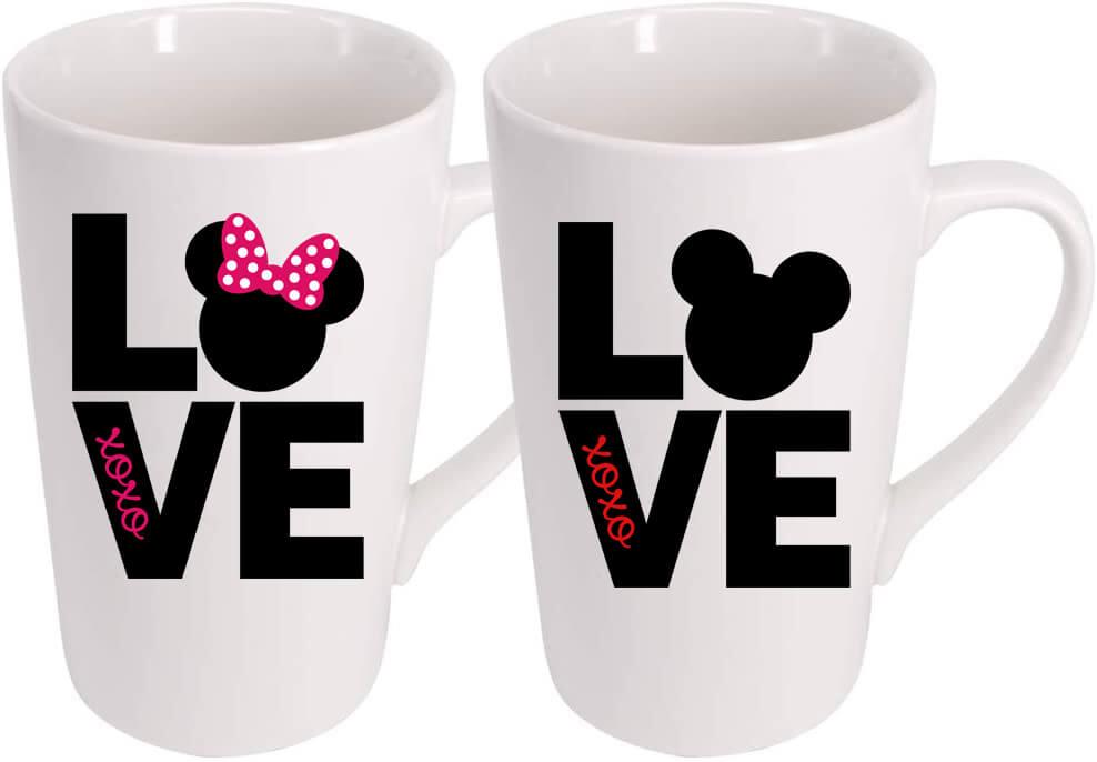 Minnie and Mickey Valentine's Day mugs