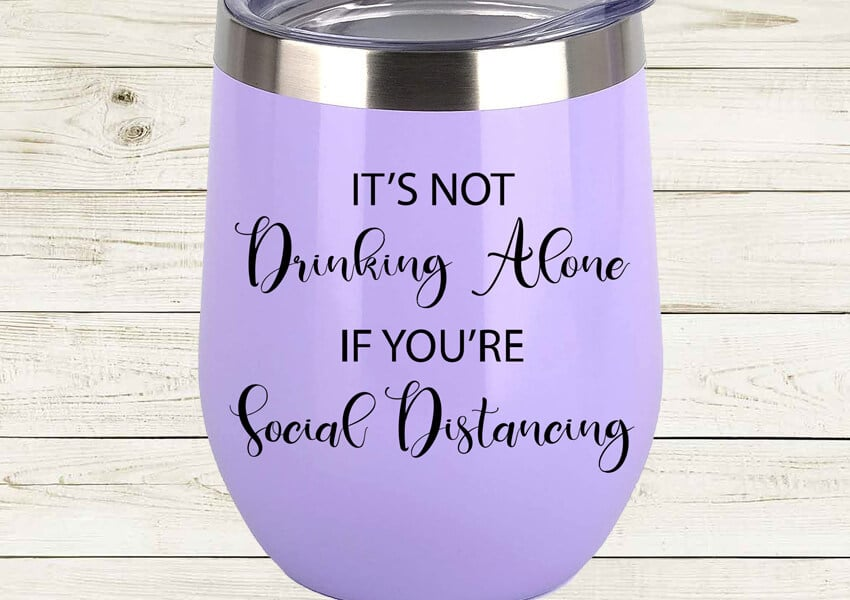 Social Distancing Wine Glass SVG