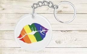 Rainbow Lips Pride Keychain