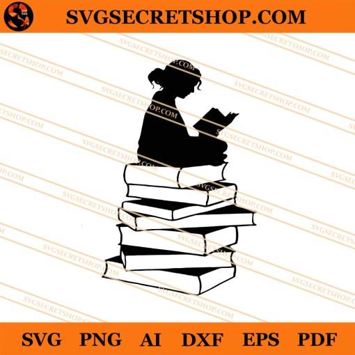 Girl Reading Book SVG