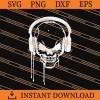 skull wearing headphones SVG