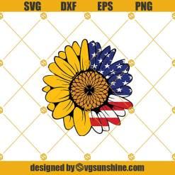 American Flag Sunflower Svg, Sunflower Svg, Patriotic Sunflower Svg