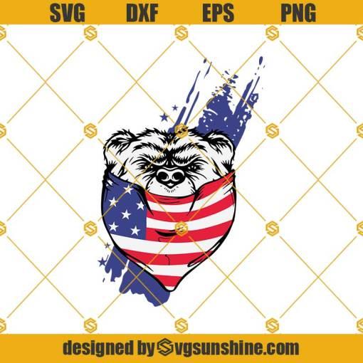 Bear American Flag Mark Svg, Bear Svg, Mask Svg, Quarantine Svg, American Flag Mark Svg