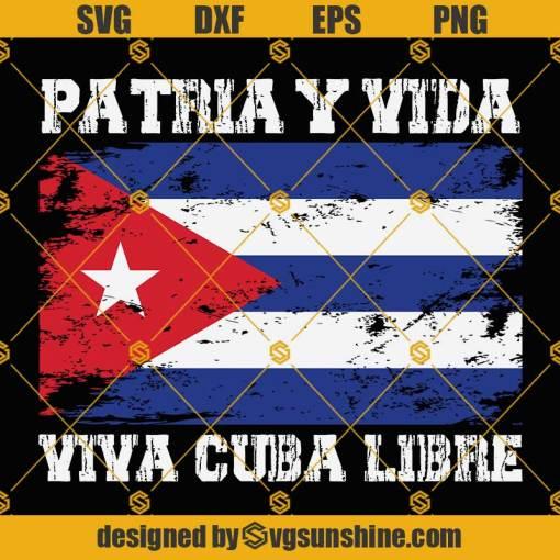 Patria Y Vida Cuba Flag SVG, Viva Cuba Libre SVG, Cuba SVG