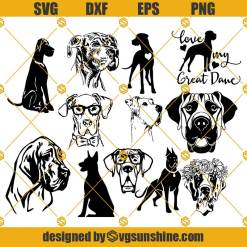 Great Dane SVG Bundle, Great Dane SVG PNG DXF EPS
