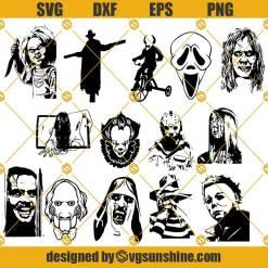 Halloween Horror Characters SVG, Horror Movie Killers SVG, Friends Halloween SVG Bundle