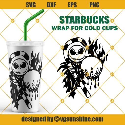 Jack Skellington Starbucks Cold Cup SVG, Halloween Full Wrap for Starbucks Venti Cold Cup SVG