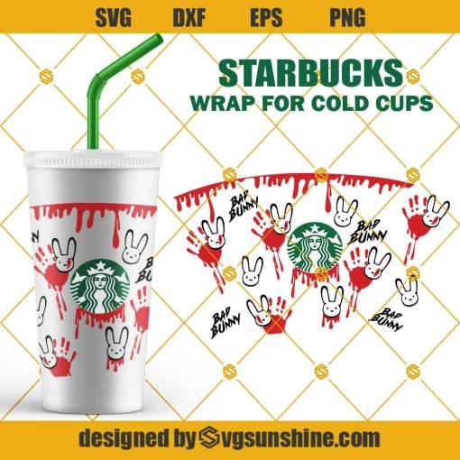 Bad Bunny Dropping Blood Hand Print Starbucks SVG, Halloween Full Wrap Starbucks Cold Cup SVG