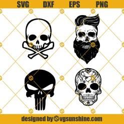 Skull SVG BUNDLE, Skull Clipart, Skull Cut Files For Silhouette, Skull Files for Cricut, Skull Dxf, Skull Png, Skull Eps, Skull Vector
