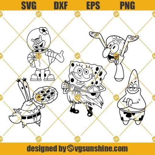 Spongebob SVG, Gary SVG, Squidward SVG, Patrick SVG Bundle