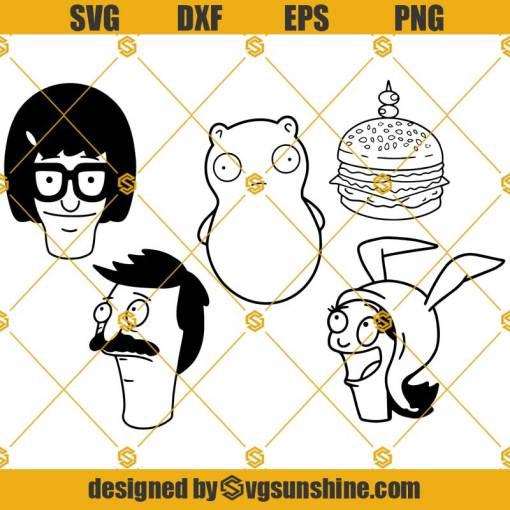Bobs Burgers SVG Bundle, Bob's Burgers SVG PNG DXF EPS Cut Files Vector Clipart Cricut Silhouette