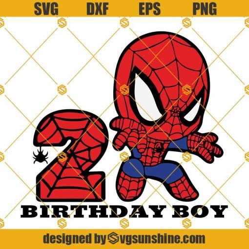 2nd Birthday SVG Birthday Boy SVG, Spiderman Birthday SVG, Happy Birthday Spiderman SVG
