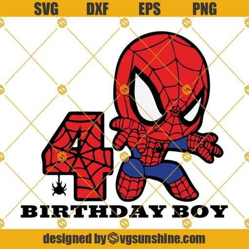 4th Birthday SVG, Birthday Boy SVG, Spiderman Birthday SVG, Happy Birthday Spiderman SVG