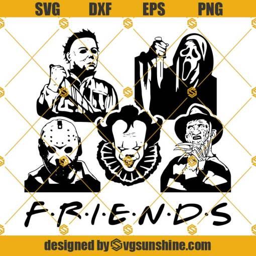 Halloween Friends SVG, Horror Movie Killer SVG, Freddy Krueger SVG Pennywise SVG Jason SVG Michael SVG Ghostface SVG