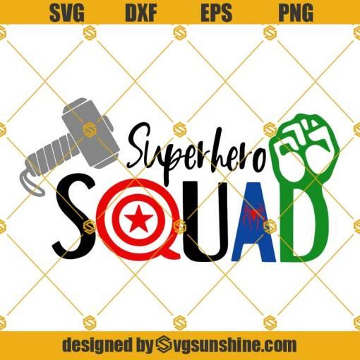 Superhero Squad SVG Thor Hammer SVG Captain America Shield SVG Hulk Hand SVG Spider Man SVG