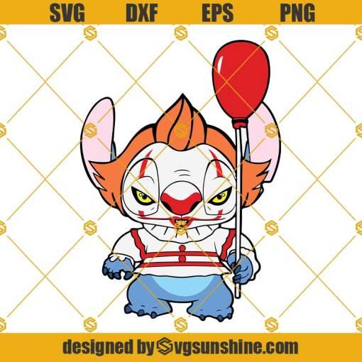 Stitch Pennywise SVG, Stitch Halloween SVG, Pennywise SVG