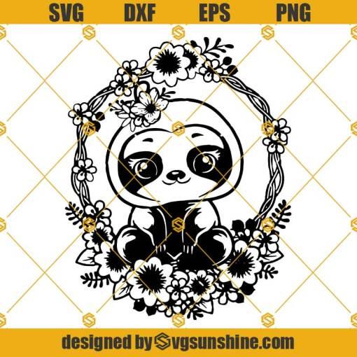 Cute Floral Sloth SVG, Sloth SVG, Flora Animal SVG