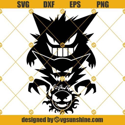 Ghostly Trio Pokemon SVG, Gastly Trio SVG, Gengar SVG