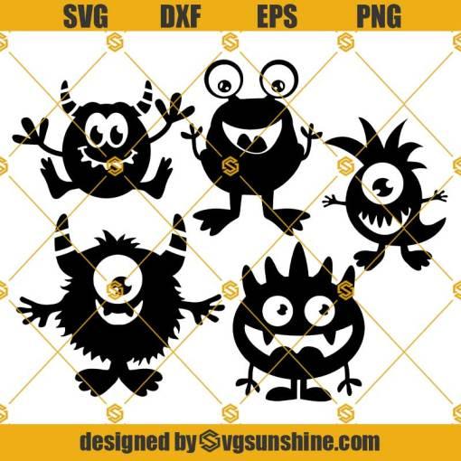 Monster Silhouette SVG Bundle, Monster SVG PNG DXF EPS Cricut