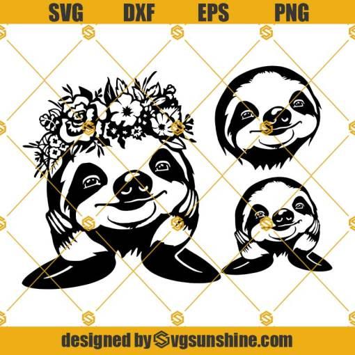 Sloth SVG Bundle, Floral Sloth SVG, Sloth SVG
