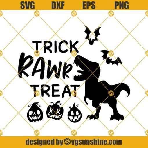 Halloween Dinosaur Trick Rawr Treat SVG, Trick Or Treat SVG, Dinosaur SVG, Funny Halloween SVG, T-Rex with Pumpkin SVG