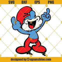 Papa Smurf Middle Finger SVG, The Smurf SVG, Smurf SVG PNG DXF EPS Cut Files For Cricut Silhouette Cameo