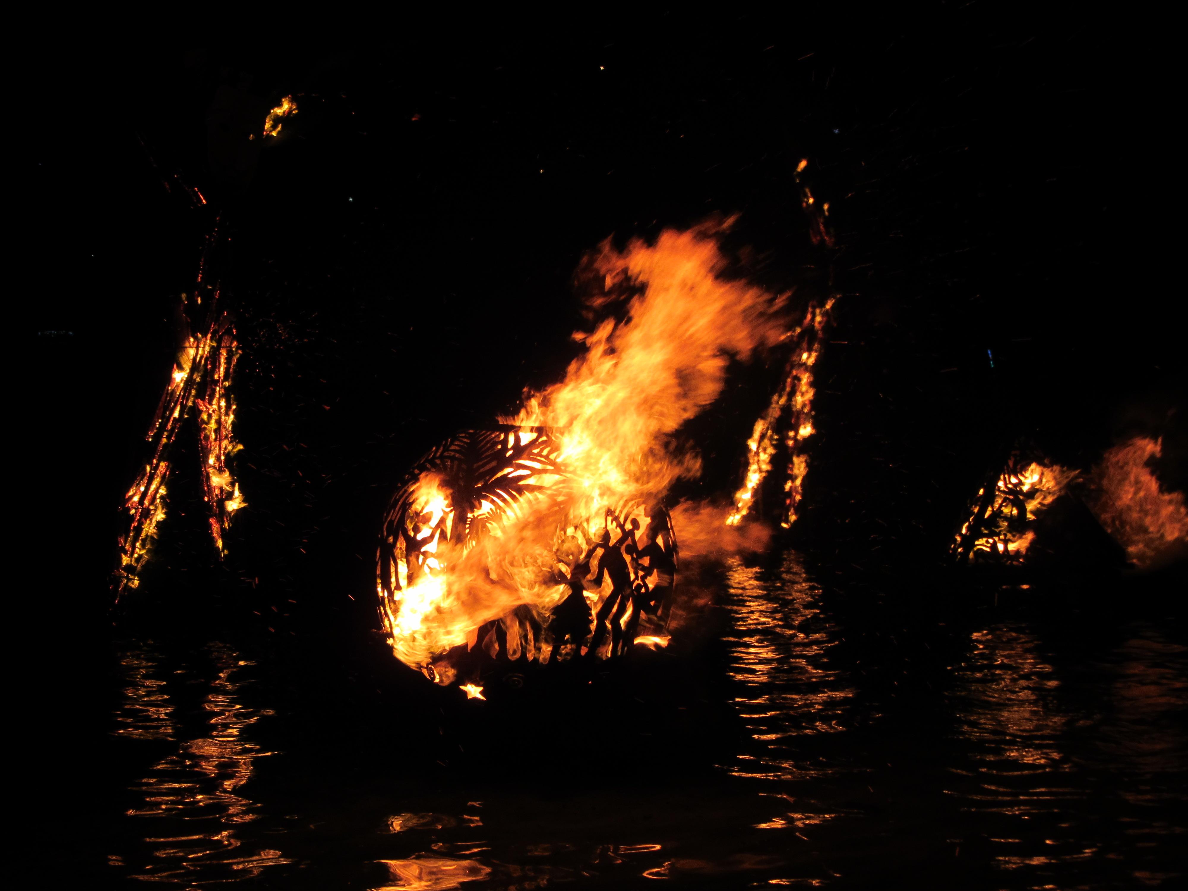 Fire balls at Trellis Bay